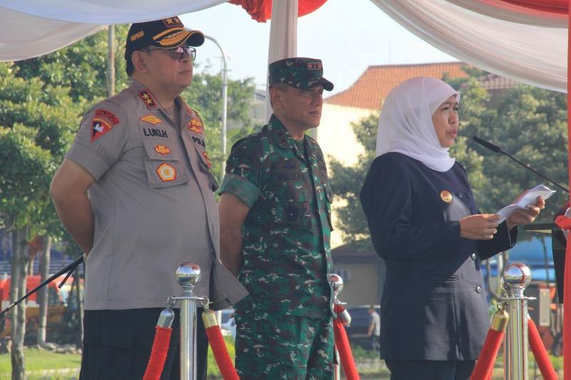 Apel Gelar Pasukan Operasi Ketupat Semeru tahun 2019 di Mapolda Jatim, Rabu (28/5). Foto; sugeng JNR